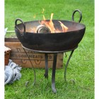 50cm Iron Kadai Fire Bowl in Situ Burning Logs