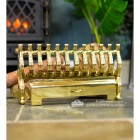 Polished Brass Fire Font by the Fireplace