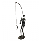 """""""Fishing"""" Indoor Ornament in a Black Finish"""