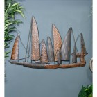 "Leaf Style ""Fleet of Boats"" Wall Art in Situ on a Blue Wall"