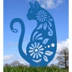 Floral Cat Silhouette in Blue