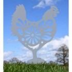 Floral Hen Silhouette in Silver
