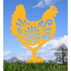 Floral Hen Silhouette in Yellow