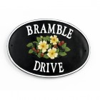 Cast Iron Effect Oval House Name Sign - Bramble