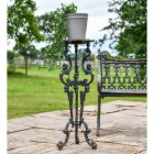 Long Gothic Cast Iron Side Table in a Black Finish