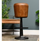 Genuine Brown Leather and Cast Iron Bar Stool
