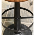 Genuine Brown Leather and Iron Bar Stool Foot Rest