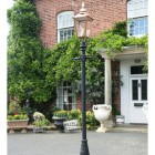 Copper victorian lamp post outside town house