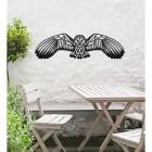 Geometric Barn Owl Wall Art in a Black Finish