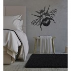 Geometric Iron Bumblebee Wall Art in Situ in a Bedroom