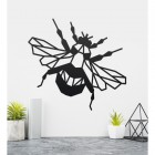 Geometric Iron Bumblebee Wall Art in Situ on a Cream Wall