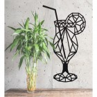 Geometric Steel Cocktail Glass Wall Art in Situ Next to a Plant
