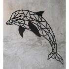 Geometric Dolphin Wall Art on a Rustic Wall