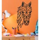 Geometric Horse Head Wall Art in Situ on an Orange Wall