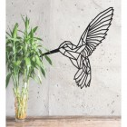 Geometric Steel Hummingbird Wall Art in Situ on a Rustic Grey Wall