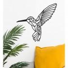 Geometric Steel Hummingbird Wall Art on a Cream Wall