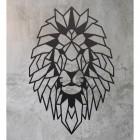 Geometric Lion Steel Wall Art on a Rustic Wall