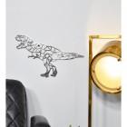 Geometric Natural Steel Finish T-Rex Wall Art in Situ