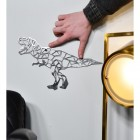 Geometric Natural Steel Finish T-Rex Wall Art to Scale
