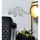 Geometric Natural Steel Triceratops Wall Art in Use in the Living Room