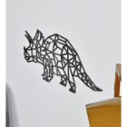 View From the side of the Geometric Natural Steel Triceratops Wall Art