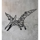 Geometric Iron Pterodactyl Wall Art on a Rustic Wall