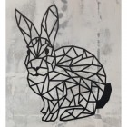 Geometric Rabbit Wall Art in Situ on a Rustic Wall