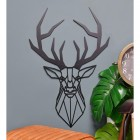 Geometric Stag Steel Wall Art in Situ on a Blue Wall in the Home