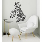 United Kingdom Geometric Steel Map Art in Situ in a Sitting Room