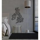 United Kingdom Geometric Steel Map Art in Situ in a Bedroom