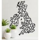 United Kingdom Geometric Steel Map Art in Situ on a Cream Wall