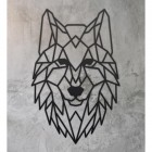 Geometric Iron Wolf Wall Art on a Rustic Wall