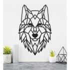 Geometric Iron Wolf Wall Art in Situ on a Cream Wall