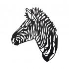 Geometric Zebra Head Wall Art in a Black Finish