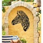 Geometric Zebra Head Wall Art in Use on a Yellow Garden Wall