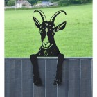 Goat Leaning Fence Topper in Situ in the Garden