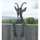 Goat Leaning Fence Topper From the Side