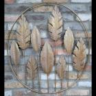 "Gold ""Autumn"" Leaf Wall Art on a Brick Wall"