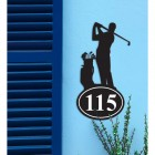 Golfer Iron House Number Sign in Situ on a Blue Wall