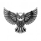 """Great Horned Owl"" Wall Art in a Black Finish"