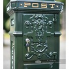 Green Camden Free Standing Post Box Decorative Detailing