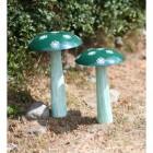 Green Hand Painted Mushroom Sculpture in Situ