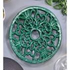 Heavy Duty Cast Iron Round Trivet Finished in Green