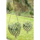 """Strawberry Lane"" Deep Latticework Hanging Basket sold in a Pair"