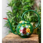Green Narrowboat Watering Can with Floral Design