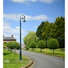 Green Ornate Victorian Lamp Post Installed On edge of driveway