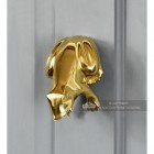 Grey Door With Polished Brass Frog Door Knocker