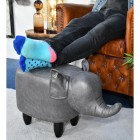 Grey Elephant Leather Stool to Scale