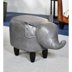 Elephant Leather Stool Finished in a Grey Finish