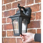 """Traditional Standard Black """"Dover"""" Wall Lantern to Scale"""